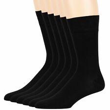 Men's Bamboo 6 Pack Super Thin Antibacterial Casual Crew Socks Large 10-13 Black