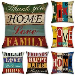 Vintage Retro HOME Letter Cushion Cover Throw Pillow Case Sofa Home Decoration