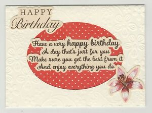Blank Handmade Greeting Card ~ HAPPY BIRTHDAY with VERSE AND FLOWER ON EMBOSSING