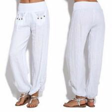 Fashion Women Buttons Cotton Linen Pants Casual Loose Trouser Wide Leg Pants CA