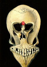 Salvador Dali Ballerina and skull  giclee 8.3X11.7 canvas print art reproduction