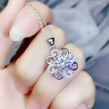 "Floral Pendant Necklaces 18"" 1.50 Ct Diamond Round Cut 14k White Gold Finish"