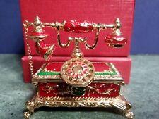 Telephone Jewelry Box Trinket Box Gift Cloisonne Enamel & 40 Brilliant Crystals!