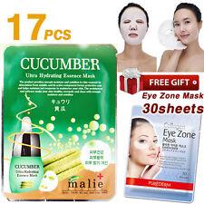 17pcs CUCUMBER Facial Mask Sheet + 30 Sheets Purederm Collagen Eye Zone Mask