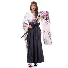 Japanese Woman Samurai Kimono Blouse + Hakama Pants Robe Geisha Cosplay Costume