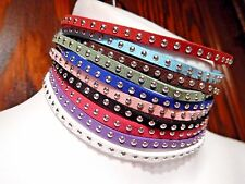 10 STUDDED CHOKER SET faux suede leather necklace punk goth collar band lot U6