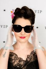 Oversized vintage style black & gold tieed cateye sunglasses Rockabilly Pin-up
