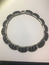 Vintage 950 Sterling Silver (Mex.)1966 Flat Links Necklace w/Onix Inlays