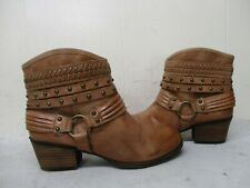 JESSICA SIMPSON Cognac Leather Studded Harness Biker Boots Womens Size 6.5 M