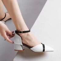 Womens Buckle Pointed Toe Pumps Block Med Heels Chunky Party Shoes EUR 35-43