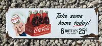 VINTAGE COCA COLA SODA PORCELAIN SIGN COKE POP BEVERAGE  OIL GAS PETROLIANA FARM