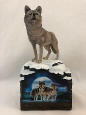 "Bookend Bradford Exchange Al Agnew ""Sacred Wilderness"" Wolf Glow In The Dark"