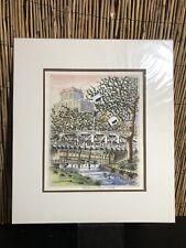 Ted Wade Stone Lithograph San Antonio River - Texas