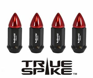 """20 TRUE SPIKE 60MM 1/2"""" STEEL BULLET LUG NUTS RED FOR GM CHEVY CADILLAC GMC"""