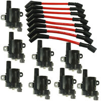 Set of 8 Round Ignition Coils with 8 pcs Spark Plug Wires For Chevy UF262 D585