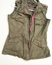Forever 21 Womens Military Jacket Vest Size Small Army Green Sleeveless