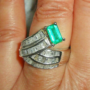 RARE 3.34ct Colombian Muzo AAA Grade Emerald & Diamond 14ct w/g (not 18ct) Ring