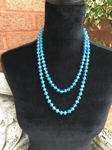 Stunning Turquoise Blue Lustred Austrian Crystal Long Flapper Beads Necklace