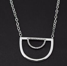"""BCBGenreration Necklace Under the Half Moon Pendant Silver Tone 28"""" Long"""