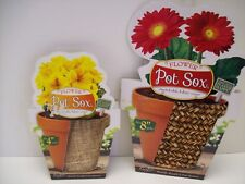 "Flower Pot Sox - Stretchable Fabric Pot Cover - Fits 4"" & 8"" Pot - Lot of 2-NEW"