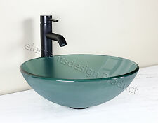 Bathroom Frosted Green Glass Vessel Vanity Sink  Bronze  Faucet drain 12.2FE3