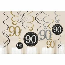 12pk Gold Sparkling Celebration 90th Birthday Party  Swirl Decorations