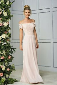 NWT Size 14 Jasmine B193059 shell pink lace/chiffon off the shoulder formal gown