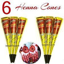 6  X DARK MAROON/RED HENNA INDIAN  MEHNDI TATTOO CONES +QUICK DRY +FAST POST