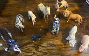 Huge Lot of 10 Retired Schleich Animals - Farm, Safari, Jungle, Exotic Horse Cat