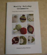 Woolly Holiday Ornaments felted hand knitting pattern by Marie Mayhew Christmas