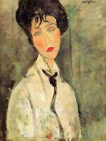 AMEDEO MODIGLIANI PORTRAIT WOMAN WITH BLACK TIE OLD ART PAINTING PRINT 161OMB