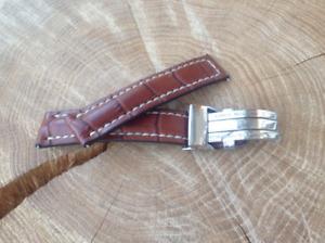 Breitling Watch Strap 22mm HANDMADE Alligator Mid Brown + Deployment clasp