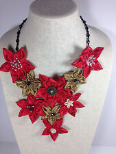 Handmade Statement Necklace Daisy Flower V-Shape Gold Red Crystal Chain