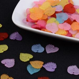 150+ Frosted Trans Mix Colors Acrylic Leaf Bead Charms Jewelry Crafts 14x14mm