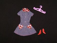 Barbie Doll Clothes Adorable Denim Dress. Pink Tag. Shoes, Hanger (B70)