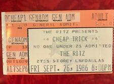 1986 Cheap Trick Ticket Stub The Ritz Theater Dallas 9/26/1986
