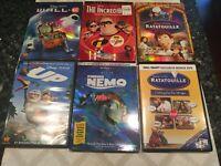 Disney Pixar DVD Movies Lot of 6 up, nemo, wall e , ratatouille, incredibles