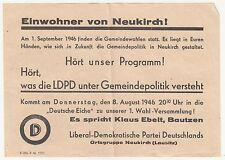 Flugblatt Einwohner von Neukirch 1946 Liberal Demokratische Partei Deutschlands