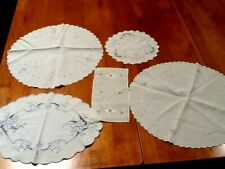 Lot of 5 vintage linens, round, oval, rectangular cut work, embroidery, etc