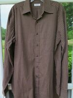 Barneys New York Mens Long Sleeve Cotton Brown Checks Italian Casual Shirt Large