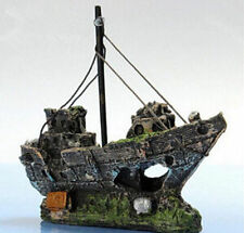 Sailing Boat Sunk Ship Ornament Wreck Cave Decor Fish Tank Aquarium Destroyer