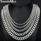 3/5/7/9/11mm MENS Chain Stainless Steel Silver Cuban Curb Link Necklace Bracelet