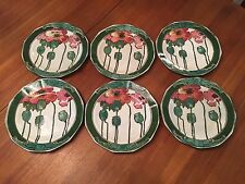 Royal Doulton Red Poppie Poppy 6 Plates D3225 Art Nouveau - Must Sell Price!