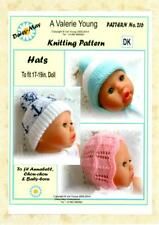 DOLLS KNITTING PATTERN for  ANNABEL/BABY BORN  Hats by Val Young No 216