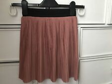 Miss Selfridge Pink Pleated Skater Skirt with Black Waist Band (Petite)