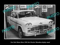 OLD LARGE HISTORIC PHOTO OF NEW YORK MOTOR SHOW 1969 CHECKER MARATHON DISPLAY