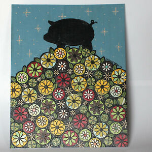 Handmade Picture Mixed Media Pig Flowers Stars acrylic collage painting art