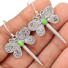 Dragonfly - Gaspeite 925 Sterling Silver Earrings Jewelry SE109750