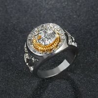 Silver Plated Lion Head Signet Ring Ring Various Sizes