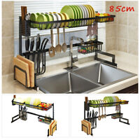 85CM Kitchen Sink Drain Rack Shelf Dish Cutlery Drying Holder Stainless Steel US